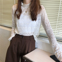 Online Celebrity Celebrity Style Underwear Stand Collar Lace Base Shirt Women's Korean style CHIC Autumn And Winter Slimming Hol