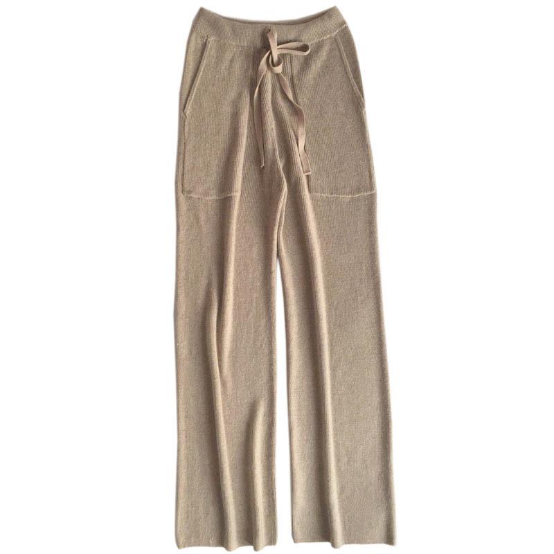 trousers women's pure knit   wide     leg     pants   casual loose wool knit   pants   women