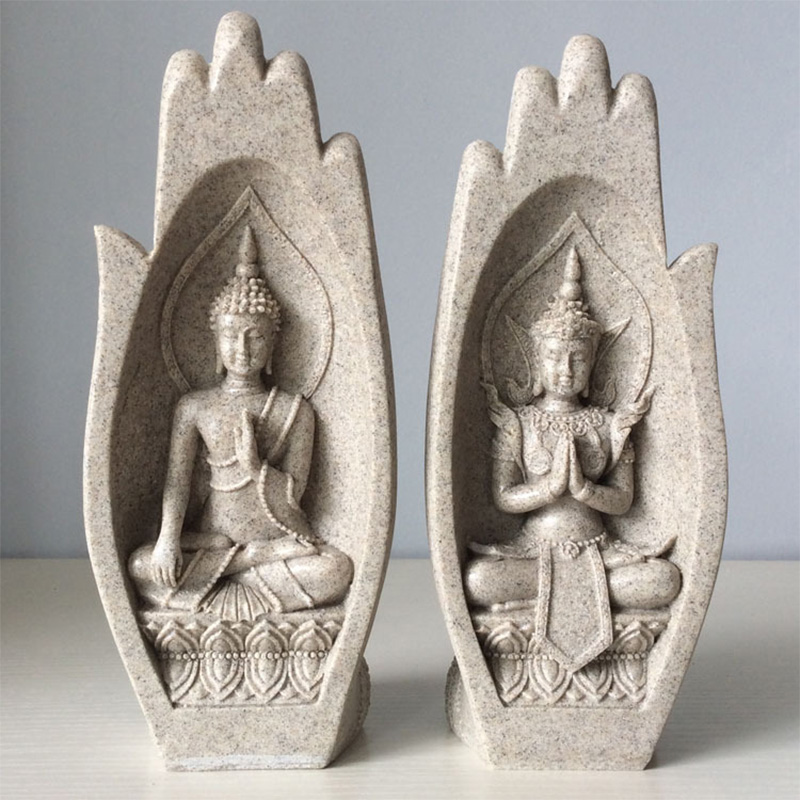 2Pcs Buddha Statue Hands Sculptures Monk Tathagata India Figurine Fengshui Yoga Home Decoration Accessories Dropshipping