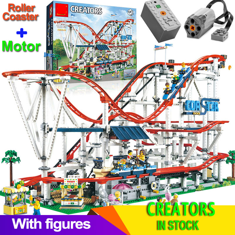 Compatible 10261 15039 Roller Coaster Technic Buidling Blocks Bricks creator expert Educational Toys Gifts With Motor(China)