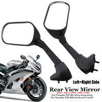 2Pcs Black Motorcycle Rear View Side Mirror Left & Right for Yamaha YZF R6 R6S 2003 2004 2005 2006 2007 2008