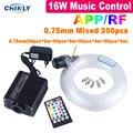 Fiber Optic Lichter Handy APP Bluetooth Steuer Sterne Decke Lichter 16W Sound Control Gemischt Kabel mit RF Controller-in Glasfaserleuchten aus Licht & Beleuchtung bei
