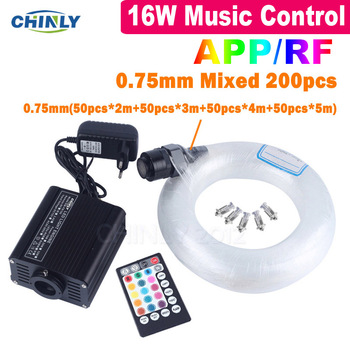 Fiber Optic Lights Mobile Phone APP Bluetooth Control Star Ceiling Lights 16W Sound Control Mixed Cable with RF Controller