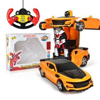 цена на 2In1 RC Car Transformation Robots Sports Vehicle Remote Control Cars Model Racing Toys Deformation Car RC Robots Children Gifts