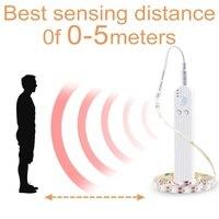 Usb ledストリップライト屋内pirモーションセンサー検出器フレキシブルなテープ5 12v主導防水ランプ1メートル2メートル3メートル2835SMD 4AAAバッテリー電源