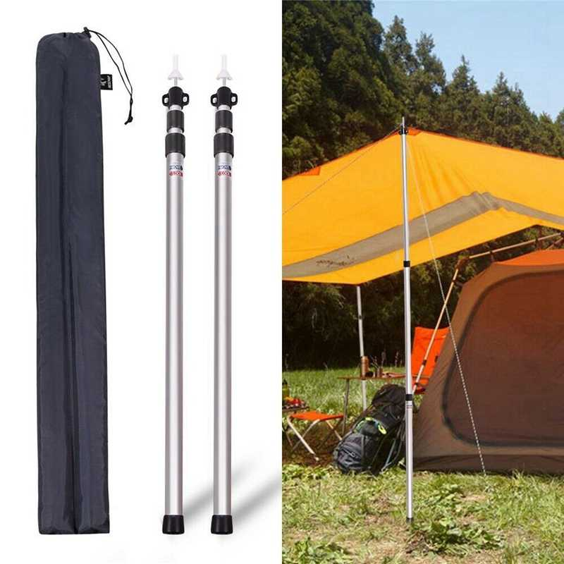 2Pcs Adjustable 0.9 TO 2.3M Outdoor Sunshelter Support Rods Aluminum Tent Poles