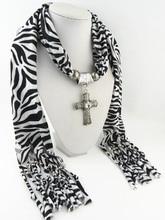 2019 Zebra pattern and cross fringe fashion leopard zebra scarf alloy Butterfly Pendant scarf lady jewelry pendant scarf