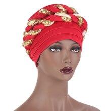 Shinning African Sequins Turban Hat Women Muslim Cap Auto Geles Aso Oke Headtie Party Fashion Headwear