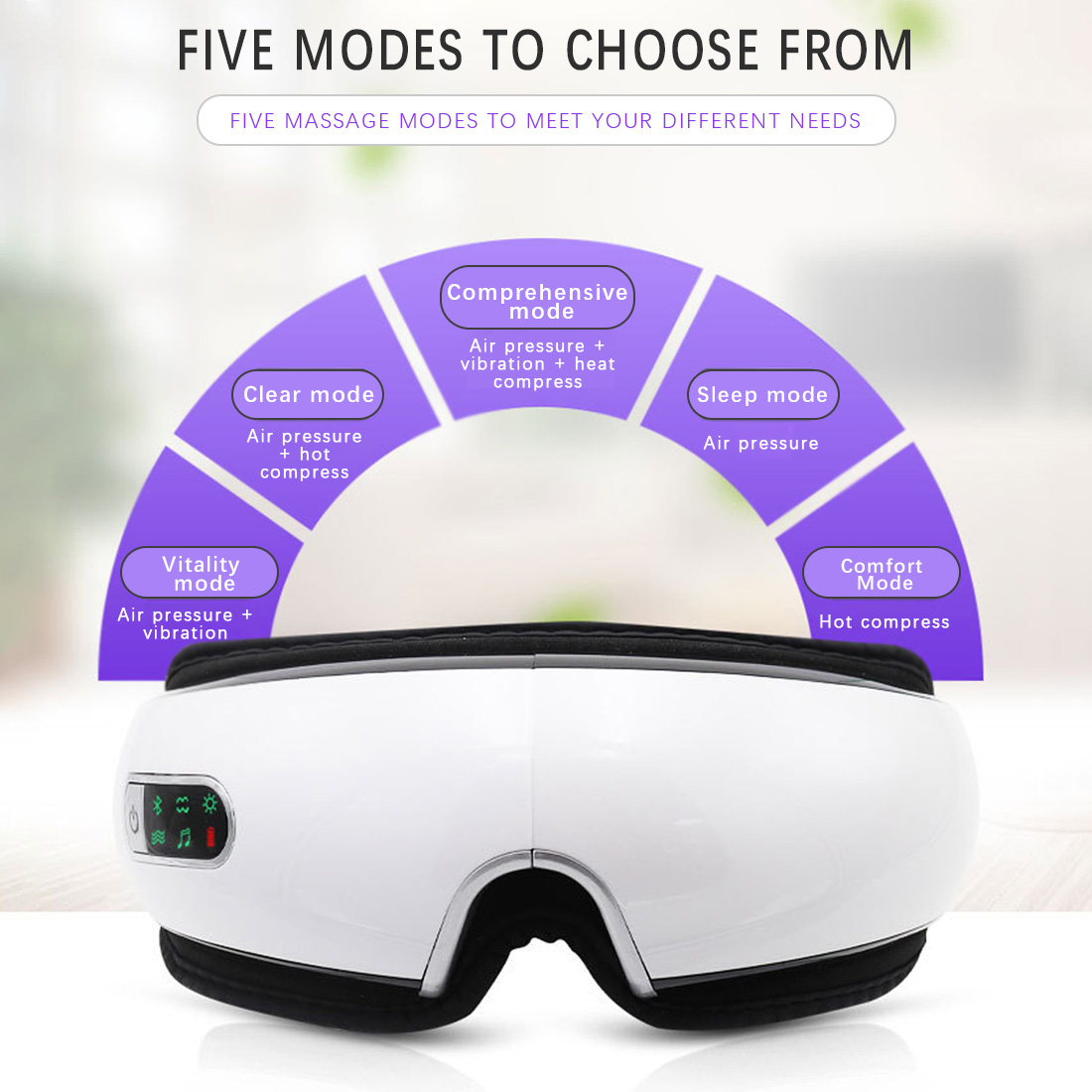 Eye Care Bluetooth Eyes Massager Vibration SPA Electric Music Collapsible Air Pressure Heating Instrument Eye Fatigue Massage