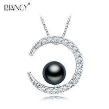 Fashion Natural Black Pearl Pendant Necklaces moon Jewelry For Women Freshwater Necklace Chain Accessories