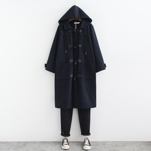 Mooirue Winter Woman Hooded Wool Coat Harajuku Plus Size Casual Streetwear Horn Button Cardigan Solid Koran Style Vintage Coats plus size hooded horn button coat