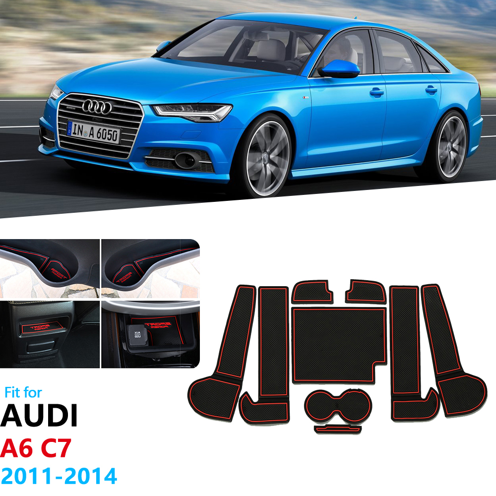 For <font><b>Audi</b></font> A6 C7 2011 2012 2013 <font><b>2014</b></font> A6 4G RS6 S6 S line RS 6 Anti-Slip Rubber Gate Slot Cup Mat Coaster Accessories Car Stickers image