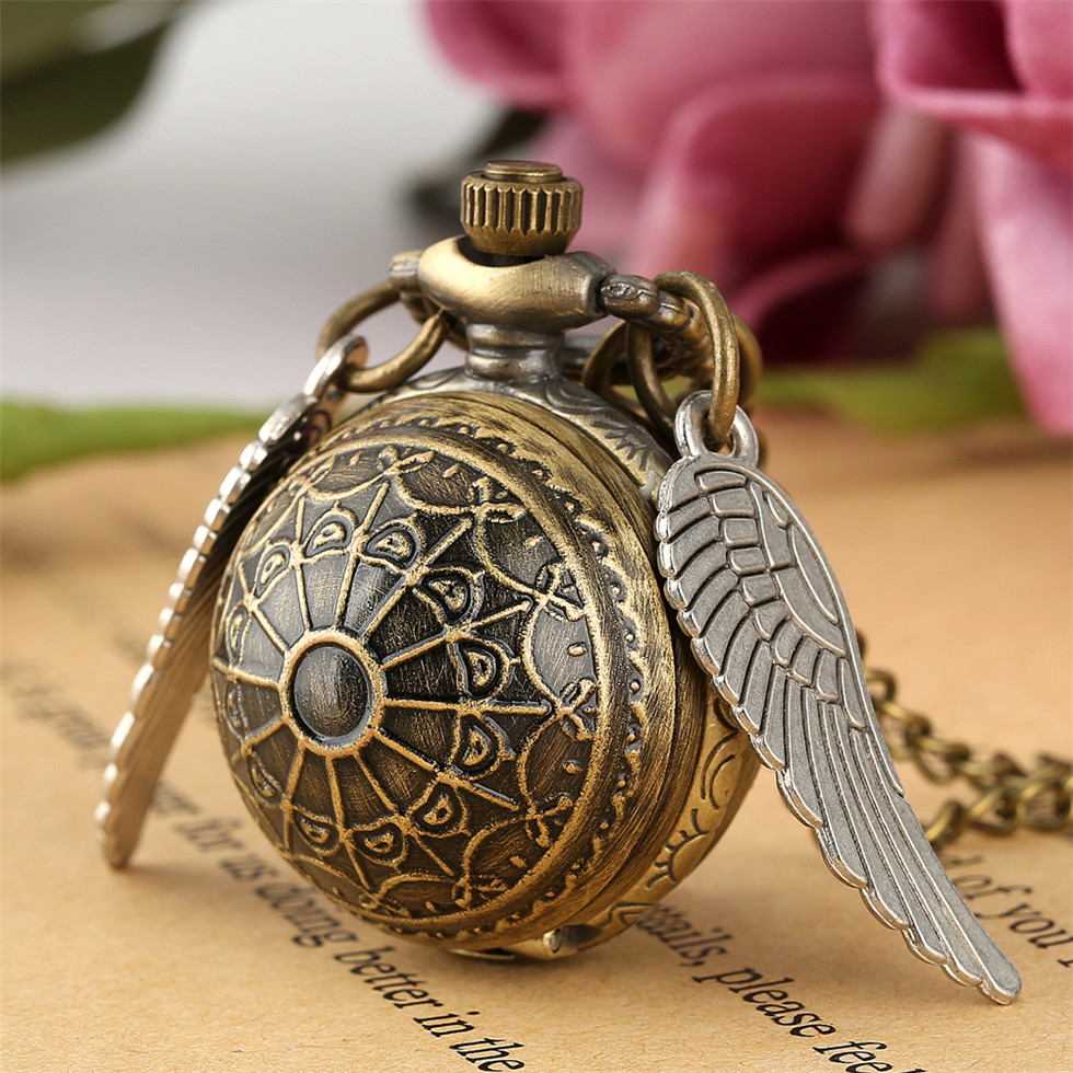 Golden Snitch Pocket Watch With Necklace Chain Gift For Boys Bronze Quidditch Pendant Watches For Girls Gift Drop Shipping
