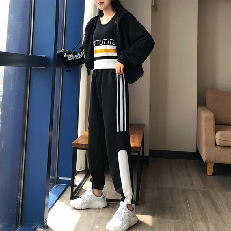 Autumn new sports suit female loose large size vest + jacket + pants foreign fashion sports three-piece suit 3