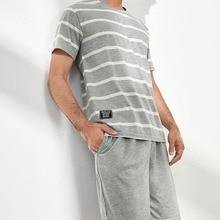 Men's Pajamas Short-Sleeve Home-Clothes Nightwear-Pants Sleepwear Male Casual Newest