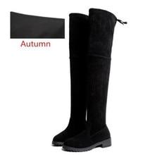 Зимние Сапоги выше колена, женские эластичные тканевые чулки с эластичным бортом, женская обувь, длинные сапоги, Bota Feminina Zapatos De Mujer, размер 35-41
