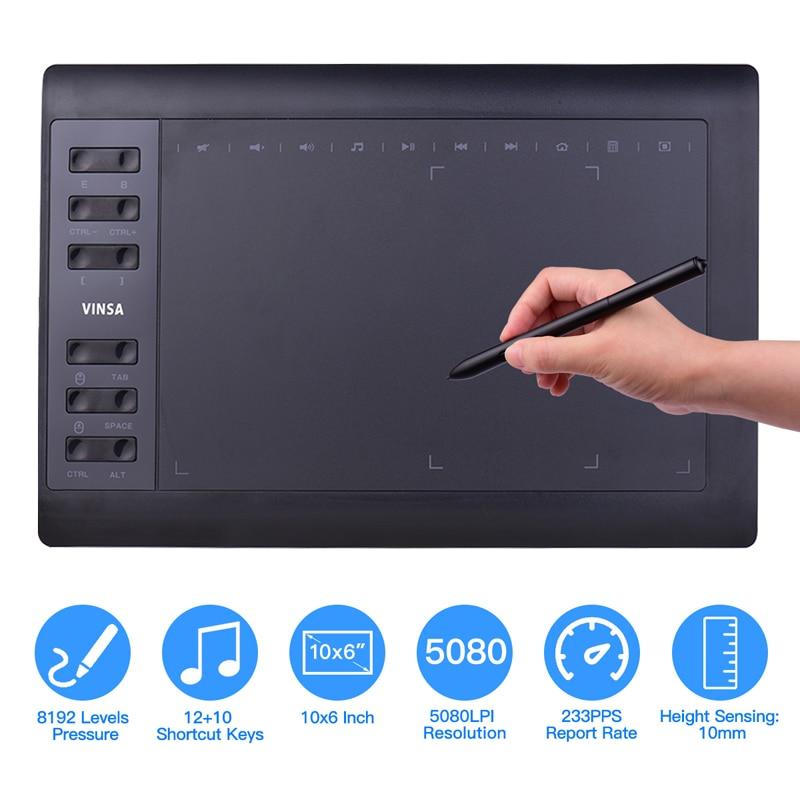 10*6 дюймов Портативный планшетный компьютер Подключите мобильный телефон цифровой Давление графический планшет интерактивный графический...