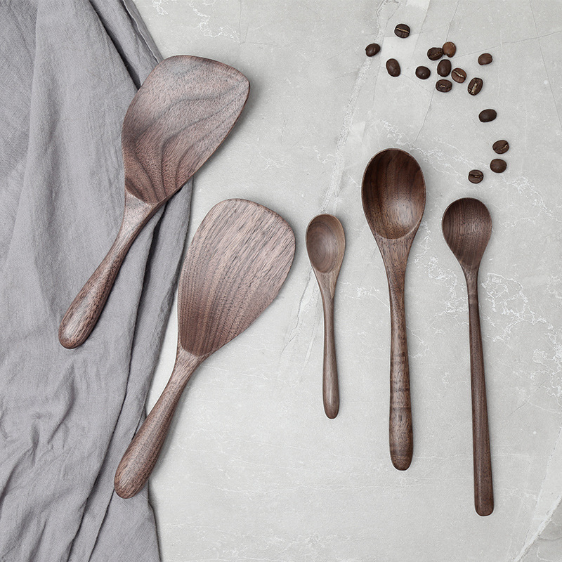 Vacclo Black Walnut Spoons Wooden Eco-friendly Japanese Style Coffee Stir Long Scoop Large Soup Rice Spoon Kitchen Tableware
