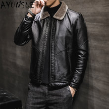 AYUNSUE Genuine Leather Jacket Men's Sheepskin Coat Thick Men Clothing Autumn Clothes Male Winter Coats Chaqueta Hombre LXR490(China)