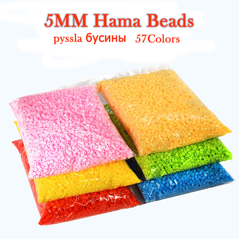 hama beads 5mm 500G 57colors pyssla Iron Beads for Kids Hama Beads 3d puzzle creative toys Handmade Gift toys(China)
