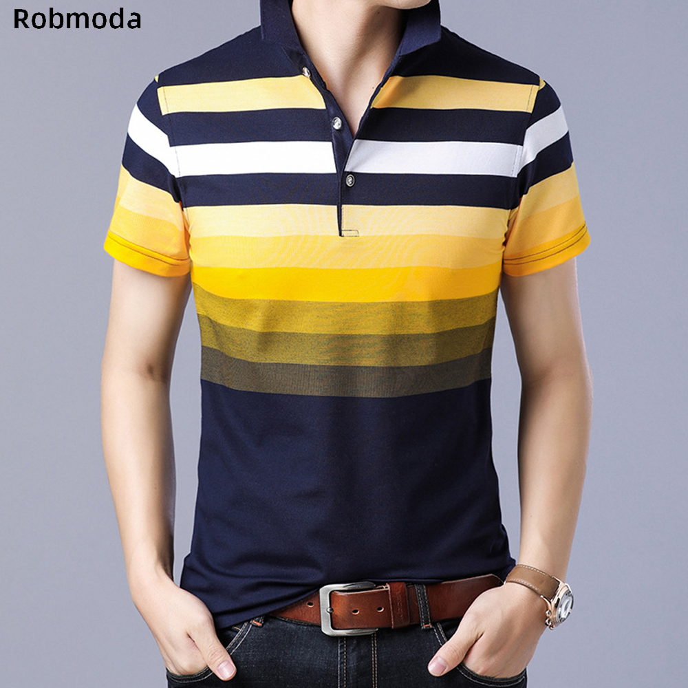Style Striped 2019 Brand Fashion Polo Shirts Short Sleeve Men Summer Cotton Breathable Tops Tee Shirt Stripe Standing Collar