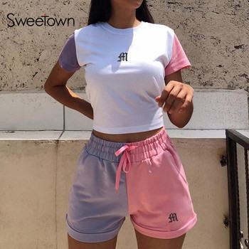 Sweetown Macaron Colorblock Casual Sport Activewear Two Piece Matching Sets Women Basic Shirt And Shorts Set Summer Track Suits