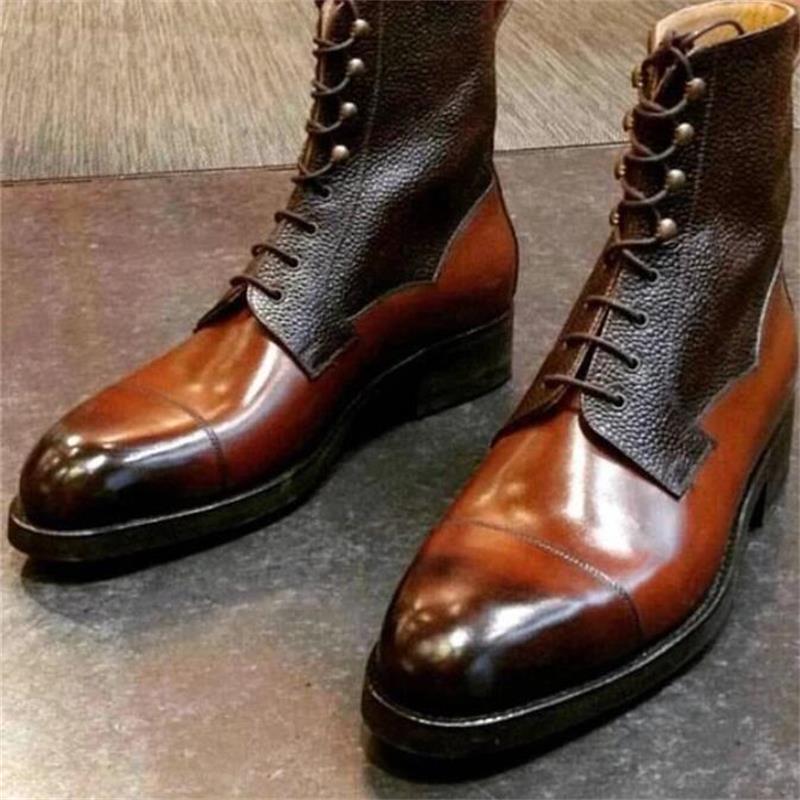 Мужские туфли из искусственной кожи на низком каблуке, повседневная обувь, классические туфли, броги, весенние ботильоны, винтажные классич...