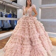 Nuevo precioso Vestido rosa De celebridad Sexy cristales Vestido De alfombra roja Oriente Medio vestidos De noche largos 2020 Kaftan Vestido De fiesta