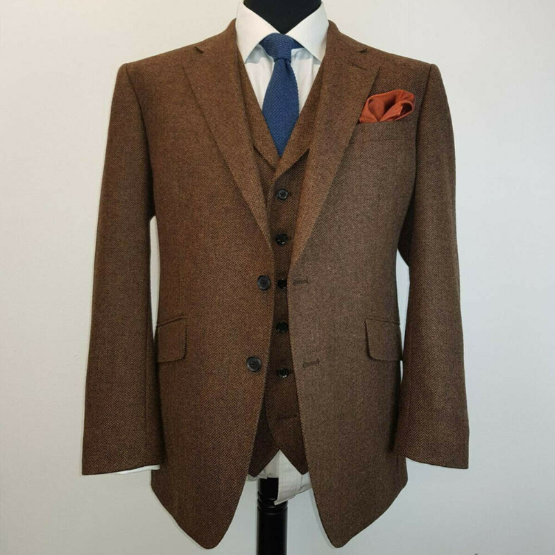2020 Brown Wool Suits For Men Herringbone Tweed Notch Lapel One Button Formal Warm Tuxedos Suit Separately