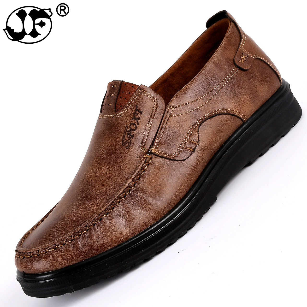 Genuine Leather Shoes Men Brand Footwear Non-slip Thick Sole Fashion Men's Casual Shoes Male High Quality Cowhide Loafers458
