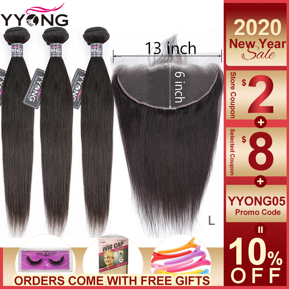 YYong 13x6 Lace Frontal With Bundles Peruvian Straight Bundles With Frontal Remy Human Hair Ear To Ear Lace Frontal With Bundles