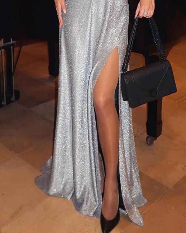 여자 반짝이 장식 조각 긴 맥시 드레스 브이 넥 파티 이브닝 볼 가운 슬릿 드레스 여성 오프 어깨 실버 드레스 벨트없이
