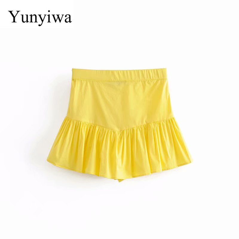 2019 Women Sweet Candy Color Pleats Shorts Skirts Ladies Side Zipper Casual Hem Ruffles Shorts Pantalones Cortos