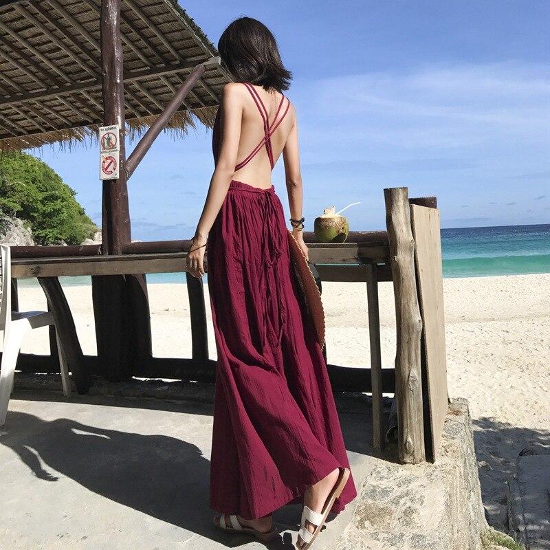 Photo Shoot 2018 Slit Deep-V Wine Red Seaside Holiday Long Skirts Backless Beach Skirt Cherry
