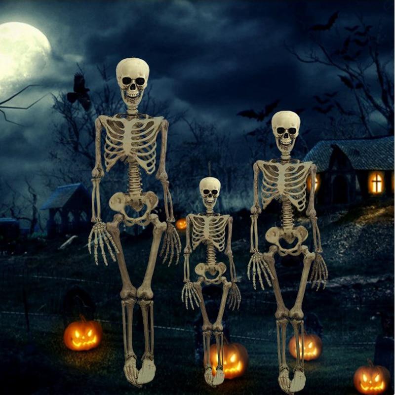 Halloween Prop Skeleton Full Size Skeleton Skull Hand Lifelike Human Body Poseable Anatomy Model Party Festival Decoration(China)