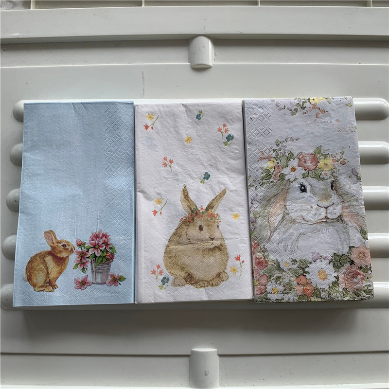 15 Decoupage Wedding Vintage Napkins Paper Elegant Tissue Rabbit Bunny Flower Craft  Kid Birthday Party Serviettes Decor 33*40cm