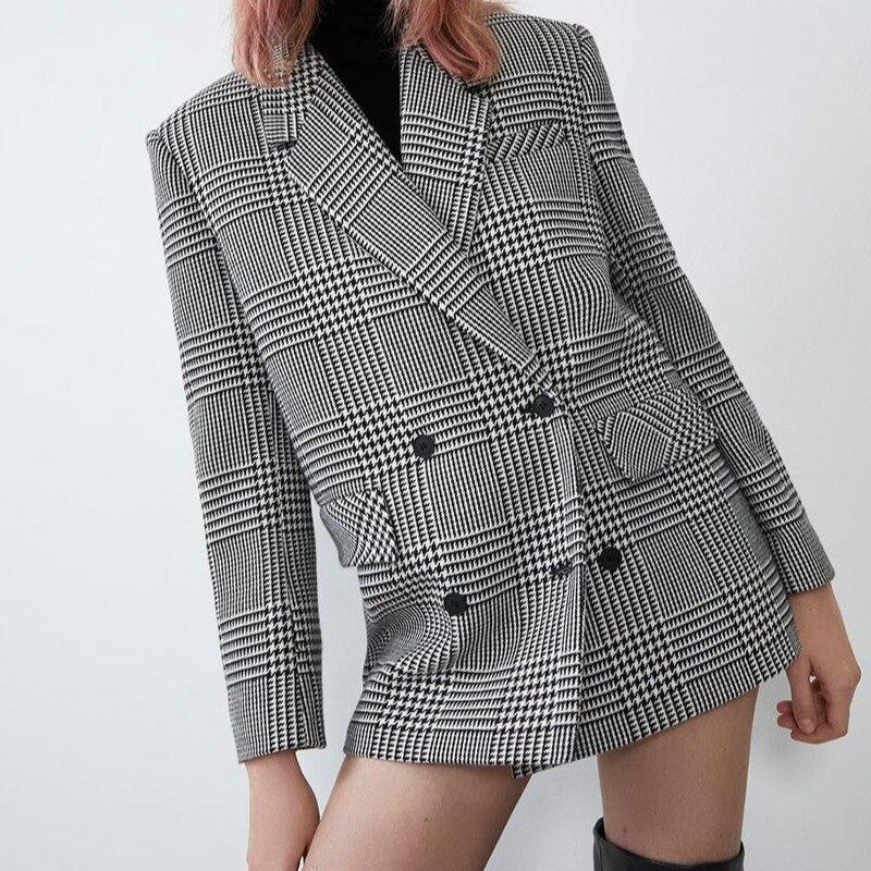 Женские элегантные костюмы с карманами и длинным рукавом, женские двубортные пиджаки, модные повседневные куртки в клетку с пуговицами