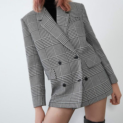 Women Elegant Pockets Long Sleeve Suits Female Ladies Double Breasted Blazers Fashion Casual Houndstooth Jackets Plaid  Button