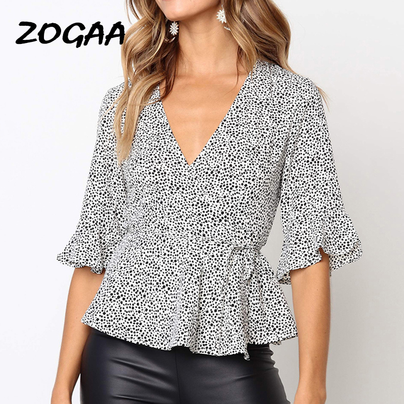 Womens Puff Sleeve Polka Dot Tops Ladies Big Bow Tie Up Shirt Party Blouses