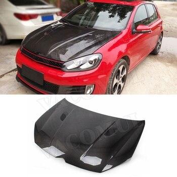 Carbon Fiber Front Engine Hood Air Vent Cover for Volkswagen VW Golf 6 VI MK6 GTI R20 Car Bonnet Cap Car Styling
