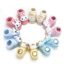 1 Pairs Newborn baby Floor Socks With Rubber Soles Boy Girl Cartoon Socks Autumn Winter Children Anti-Slip Baby Step Socks недорого