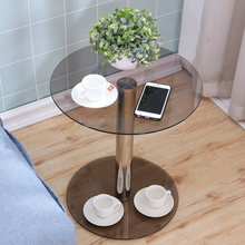 Table Basse ronde en verre trempé, meuble de salon avec pieds en acier inoxydable
