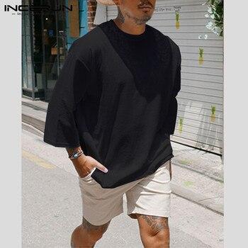 INCERUN moda męska Casual T Shirt jednobarwna bawełna 3/4 rękaw wycięcie pod szyją 2019 Baggy t-shirty Hombre Streetwear Camiseta Plus rozmiar