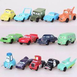 14 pçs/set 2 3 Disney Pixar Carros Relâmpago McQueen Sally Mater Guido O Rei Diecast Metal Veículo Alloy Boy Kid Brinquedos Presente