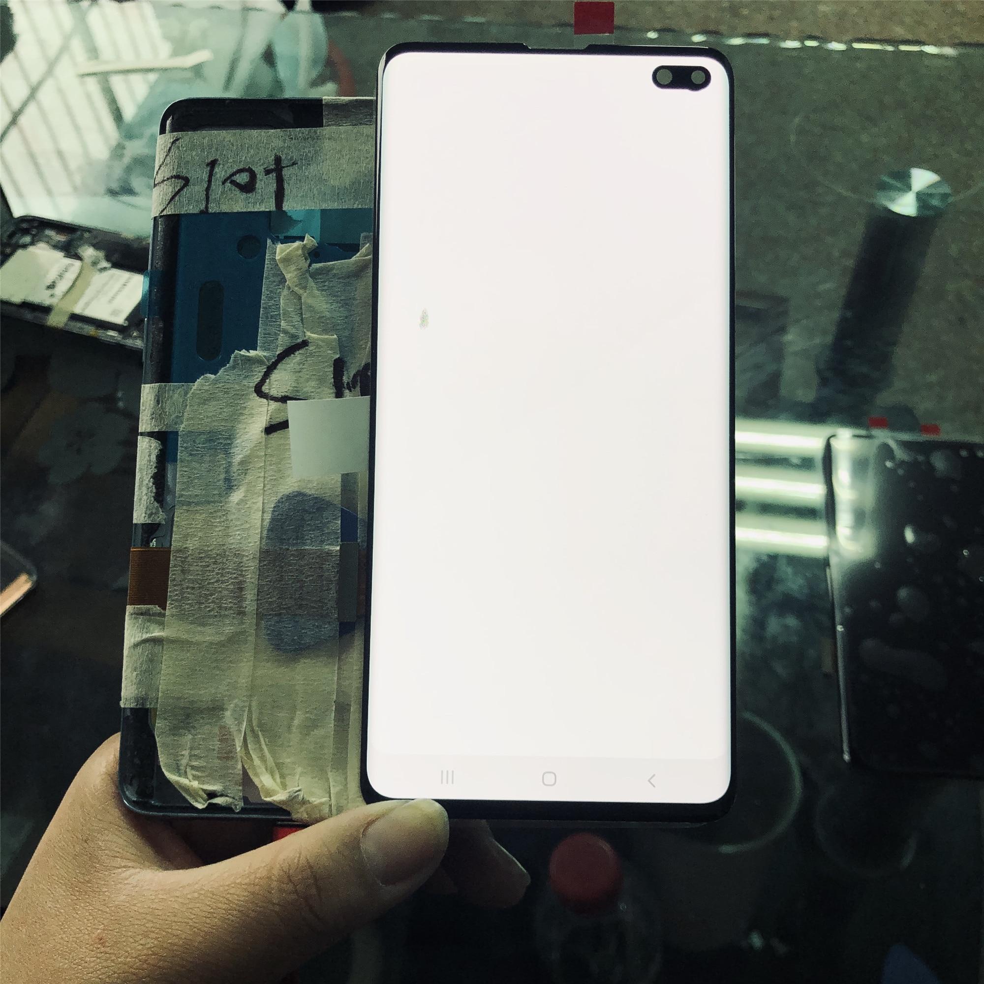 100% супер AMOLED LCD для SAMSUNG Galaxy S10 Plus дисплей S10 + дисплей G9750 G975F сенсорный экран дигитайзер сборка битых пикселей Экраны для мобильных телефонов      АлиЭкспресс
