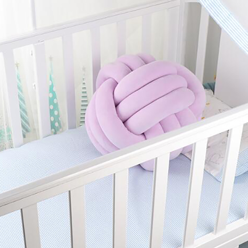 Bab Crib Knot Pillow Weaving Cuddle Pillows Bed Round Shape Pillows Toddler Baby Boy Girl Room Decoration YYJ002
