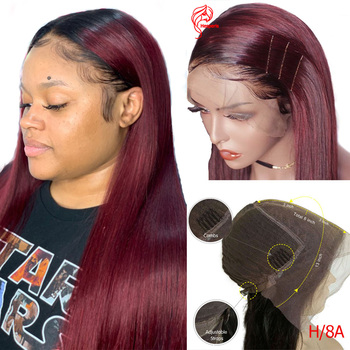 Hesperis Ombre Human Hair Wig High Ratio Brazilian Remy 13x6 1b/Burgundy Straight Lace Front Wigs For Women 1b/ red 8-24 inch