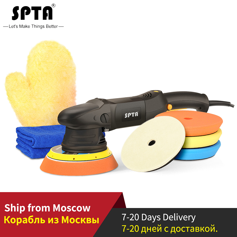 SPTA 6Inch 150mm 21mm Dual Action Polisher DA Polisher Car Polisher & Polishing Pads Microfiber Towel Glove Set For Auto Polish