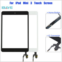 Touch Screen for iPad Mini 3 3rd Gen A1599 A1600 A1601 Digitizer Sensor Panel Front Glass Replacement With IC Cable Home ButtonS(China)