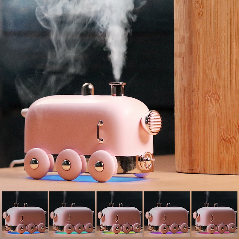 300ML Lovely Air Humidifier Mini Train Ultrasonic Essential Aromatherapy Diffusers For Office Car USB Mist Maker Air Purifier